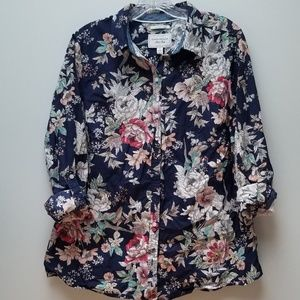 CHARTER CLUB | FLORAL ON NAVY BLOUSE, SZ 12